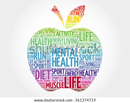 Mental health apple word cloud, health concept
