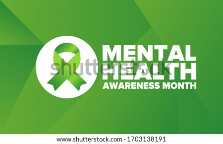 Mental Health Awareness Month in May. Annual campaign in United States. Raising awareness of mental health. Control and protection. Prevention campaign. Medical health care design. Vector illustration Сток-фото ©