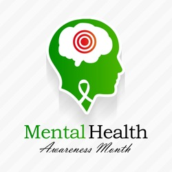 Mental health awareness month observed each year during May. it includes our emotional, psychological, and social well-being. It affects how we think, feel, and act. Vector illustration.