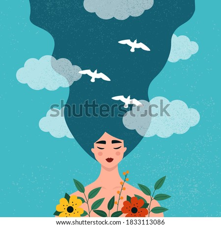 Mental health concept. Portrait of a happy young beautiful woman. Idea of creative thinking, positive mindset. Flat vector illustration with a pretty and peaceful female character Stock foto ©