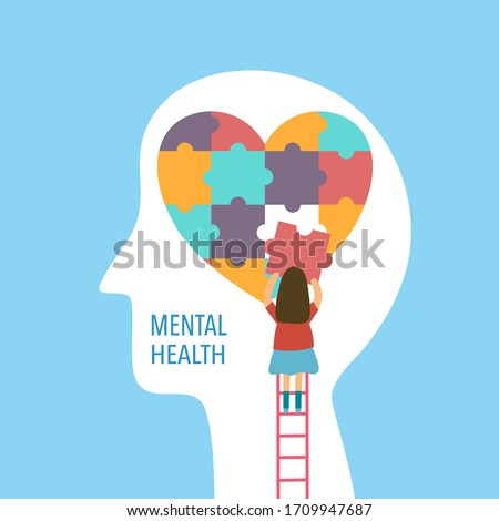 Mental health concept vector illustration. A girl making heart jigsaw in brain. World mental health day. Psychological therapy and treatment flat design.