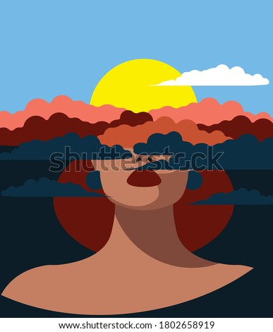 Mental Health Disorder -  woman with her head in the clouds Stock photo ©
