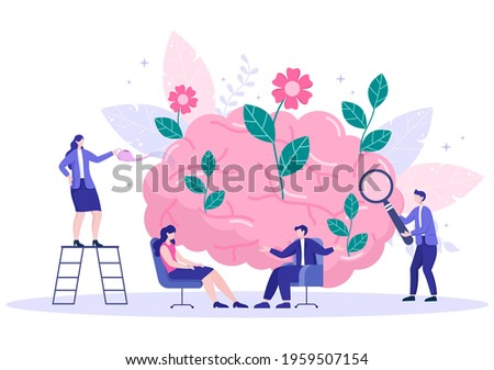 Mental Health Due To Psychology, Depression, Loneliness, Illness, Brain Development, or Hopelessness. Psychotherapy And Mentality Healthcare. Illustration