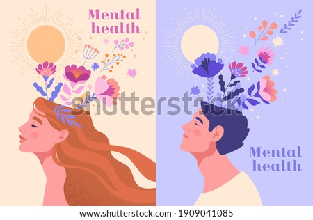 Mental health, happiness, harmony creative abstract concept. Happy male and female heads with flowers inside. Mindfulness, positive thinking, self care idea. Set of flat cartoon vector illustrations Stock foto ©