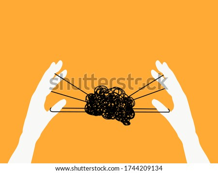 Mental health, illness ,brain development ,medical treatment  concept, hand play turned thread in a shape of brain, hands holding puppet strings with a thread of brain , vector illustration