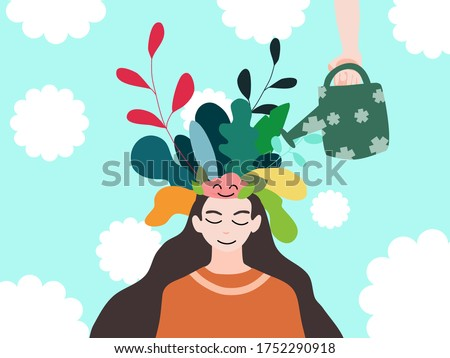 Mental health, illness ,brain development ,medical treatment  concept, hand water tree pop up form women's head and brain, vector illustration