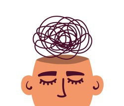 Mental health illness, psychology. Sad human head with confused thoughts inside. Depressive disorder, anxiety issues, mind stress. Burnout, emotional problem. Therapy abstract vector illustration