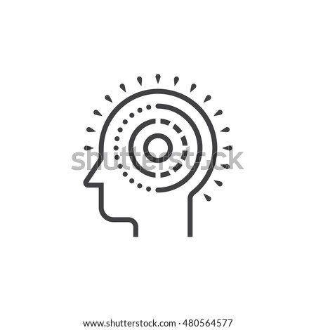 Mental health line icon, outline vector logo illustration, linear pictogram isolated on white