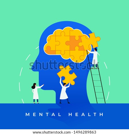 Mental health medical treatment vector illustration. Psychology specialist doctor work together to fix brain puzzle head for world mental health day concept poster background. Tiny people design style