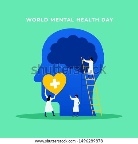 Mental health medical treatment vector illustration. specialist doctor work together to give psychology love therapy for world mental health day concept poster background. Tiny people design style. Foto stock ©