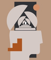 Mental health or psychology concept with abstract human head silhouette with stairways and doorway. Can be used for psychologic blog article image or social network post or wall art print. Vector