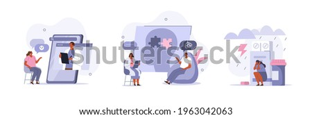 Mental Health Problems and Treatment. Characters having Consultation and Therapy against Mental Diseases with Doctors Psychologist. Mental Disorder Concept. Flat Cartoon Vector Illustration and Icon.