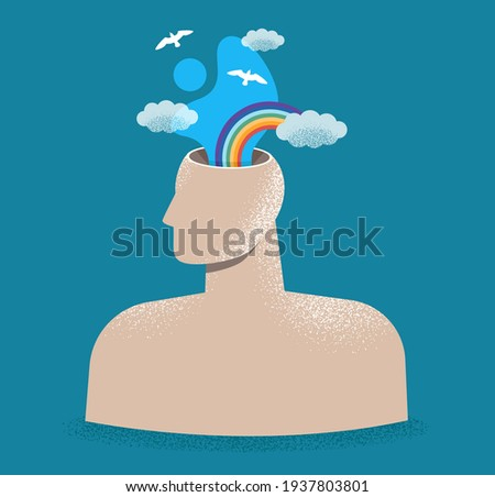 Mental health, psychology concept. Human head with sky, clouds and rainbow. Psychological wellness, positive thinking, creativity, emotions. World mental health day. Isolated flat vector illustration