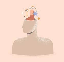 Mental health, psychology, philosophy concept. Abstract illustration of a human head with door and key. Therapy, psychotherapy. Idea of thinking, mind, mental wellness. Isolated vector illustration