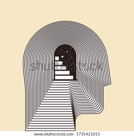 Mental health psychotherapy or inner world or meditation concept with side view human head silhouette with door and stairways inside. Conceptual vector illustration Stockfoto ©