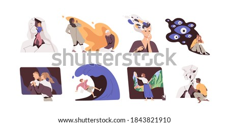 Mental health recovering or restoring concept. Set of men and women suffering from psychological problems and disorders. People listening to inner voices. Flat vector illustration on white background.
