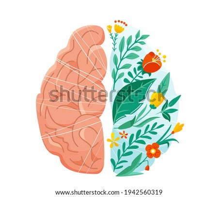 Mental health vector illustration. Left and right human brain concept. Balance design with flower, plant and leaves in flat simple style isolated on white background Сток-фото ©