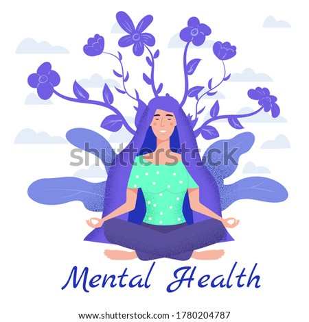 Mental health yoga meditation woman sit in the lotus position meditate. Mental calmness and self consciousness concept. Vector illustration isolated ストックフォト ©