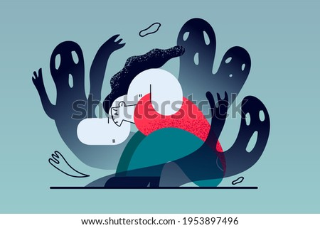 Mental problems, Depression, grief concept. Despaired woman floor having fears and scary fantasies feeling sorrow, depression, sadness vector illustration Foto stock ©