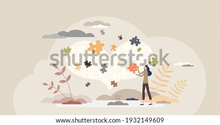 Mental recovery after relationship breakup loss tiny mini person concept. Heart healing therapy or care after emotional and painful marriage divorce as missing jigsaw puzzle pieces vector illustration