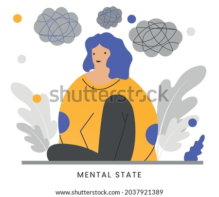 MENTAL STATE - Anxiety mental health condition and bad emotional state person concept. Internal psychology with chaos and arranged mind ストックフォト ©