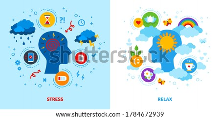 Mental stress and relax concept. Vector illustration. Anger, negative or positive mind, emotional triggers. Flat style icons.