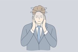 Mental stress, business, ache, depression, frustration, thinking concept. Young stressful depressed frustrated businessman clerk manager cartoon character holding head. Problems in work or headache.