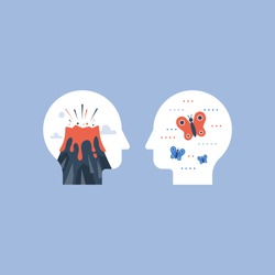 Mental stress or harmony in head concept, anger or calm mind comparison, impatience or tolerance, mood swing or panic attack, positive or negative emotions trigger, vector icon, flat illustration