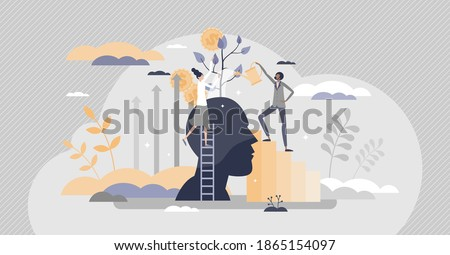 Mentoring and coaching as personal potential progress tiny person concept. Business guide and financial development with education and wisdom training from professional mentor help vector illustration