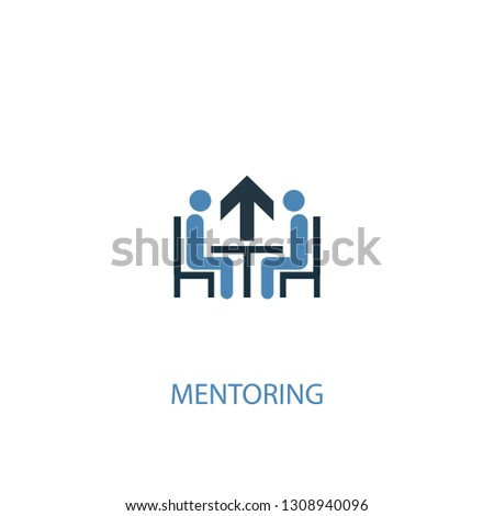 Mentoring concept 2 colored icon. Simple blue element illustration. Mentoring concept symbol design. Can be used for web and mobile UI/UX