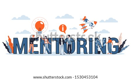 Mentoring concept. Giving advice for career success. Guidance in business. Support and motivation. Isolated flat illustration
