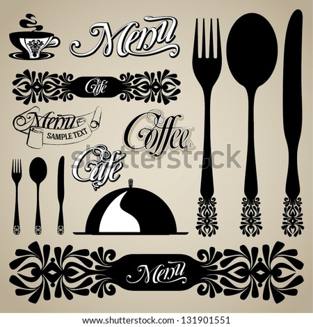 menu and coffee vector set of design elements