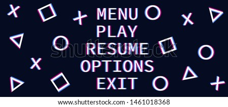 menu and interface playstation 5 in glitch effect game vector play station