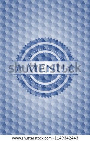 menu blue emblem with geometric ...