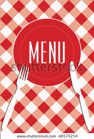 Menu Card Background - Red And White Gingham & Cutlery