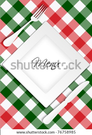 Menu Card Design - Red and Green Gingham Texture With Plate