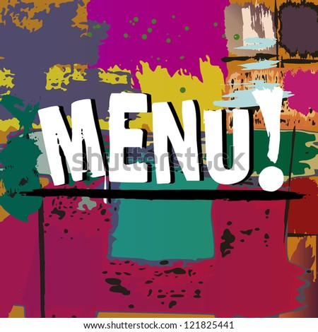 menu card design template for restaurant, grunge background