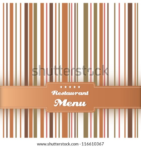 Menu card design template vector. Vintage striped background. Restaurant menu with cafe, olive and brown colors.