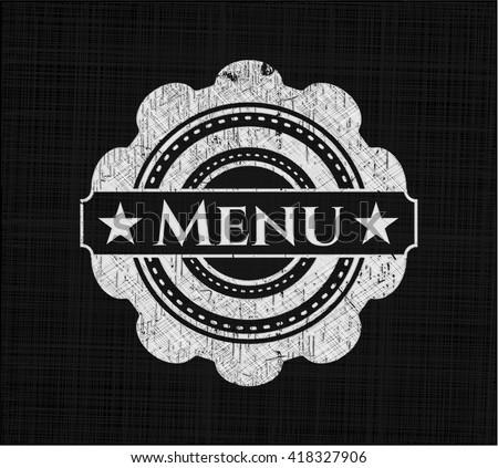 Menu chalk emblem written on a blackboard