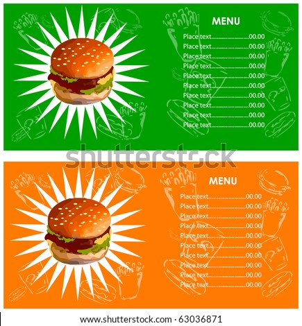Menu fast food cafe Hamburger, french fries, cola icons background