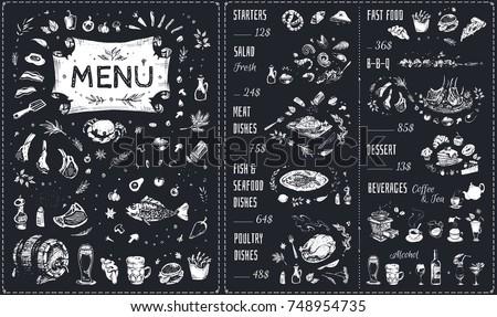 menu   food icons white chalk