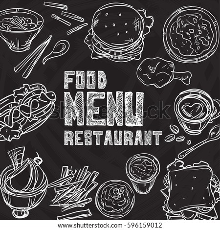 menu food restaurant drawing