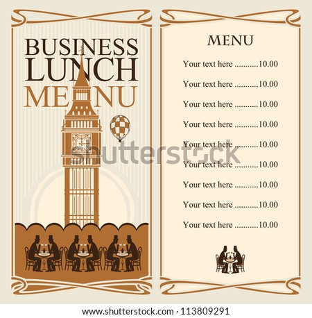 menu for business lunches with the Big Ben and gentlemen diners