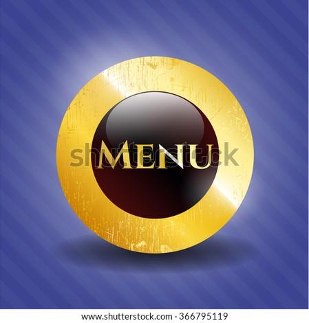 Menu gold emblem or badge