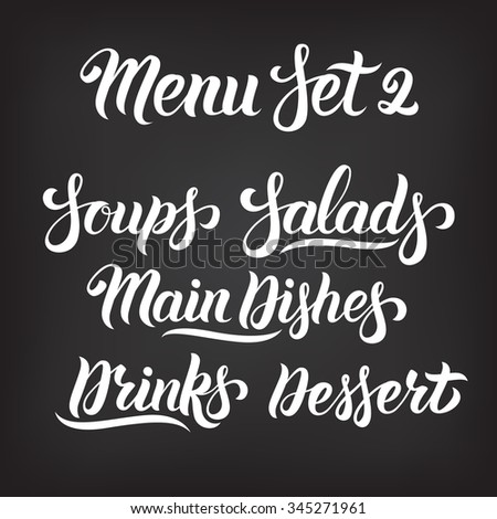menu hand lettering collection