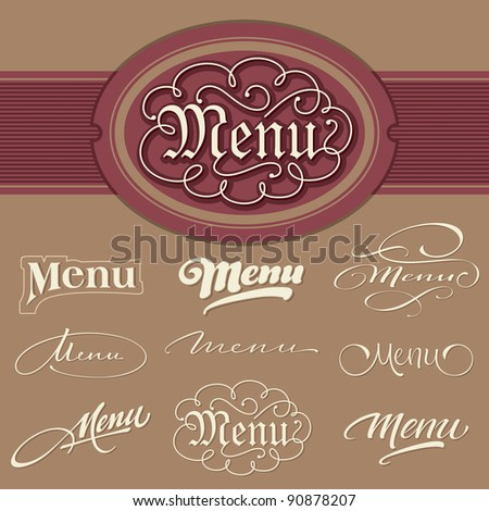 menu headlines, hand lettering set (vector) - stock vector