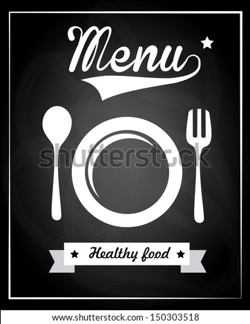 Menu healthy food over black background vector illustration