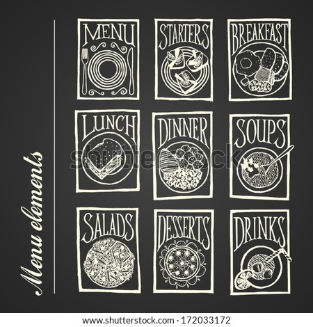 MENU ICON Dishes blackboard