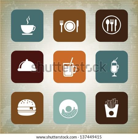 Menu icons over vintage background vector illustration