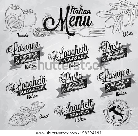 Menu Italian the names of dishes of spaghetti, lasagna, pasta carbonara, bolognese and other ingredients tomato, basil, olive to design a menu stylized drawing with coal  on a white blackboard.